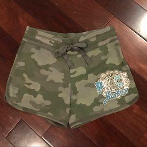 Justice camo green shorts